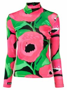 Richard Quinn floral roll-neck top - PINK