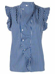 Derek Lam 10 Crosby draped detail striped shirt - Blue