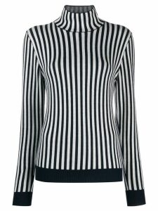 Sara Lanzi striped funnel neck jumper - White