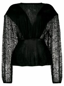 Giambattista Valli lace panel blouse - Black