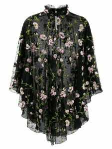 Giambattista Valli floral-embroidered tulle blouse - Black