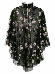 Giambattista Valli floral-embroidered tulle blouse - Black
