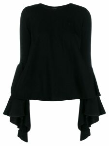 Giambattista Valli ruffled-sleeve jumper - Black