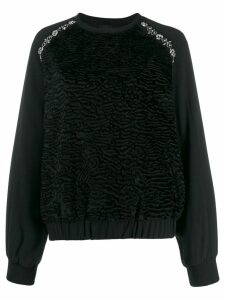 Giambattista Valli crystal-embellished crepe sweatshirt - Black