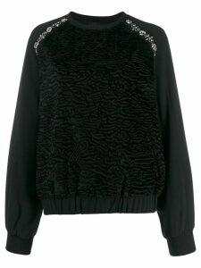 Giambattista Valli crystal-embellished crepe sweatshirt - Black