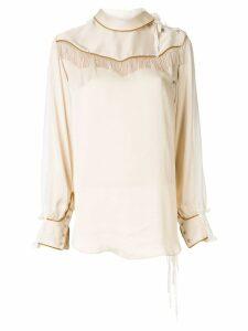 Facetasm fringe detail blouse - NEUTRALS