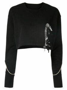 Facetasm lace detail cropped sweater - Black