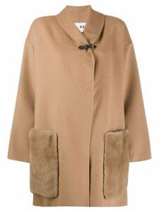 Manzoni 24 mink trim oversized coat - Neutrals