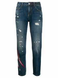 Philipp Plein Space distressed boyfriend jeans - Blue