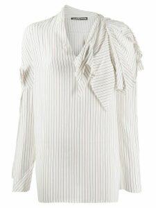 Aganovich striped raw edge shirt - White
