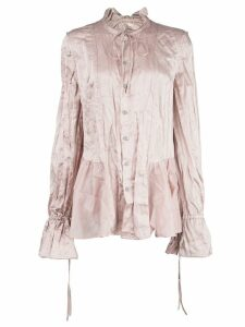 Renli Su frill-trim long-sleeve blouse - PINK