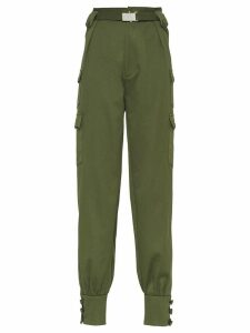 Miu Miu belted tapered trousers - Green