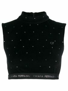 Chiara Ferragni logo cropped sweater top - Black