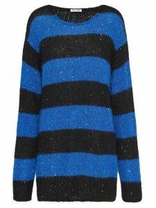 Miu Miu oversize stripe jumper - Blue
