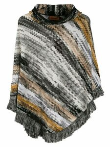 Missoni striped knit poncho - Black