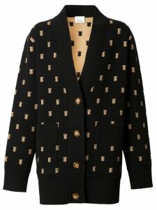 Burberry Monogram Wool Cashmere Blend Oversized Cardigan - Black