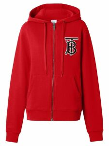 Burberry Monogram Motif Cotton Oversized Hooded Top - Red