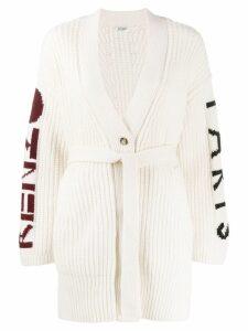 Kenzo intarsia logo cardigan - White