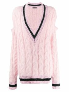 Balmain cut-out cable knit jumper - PINK
