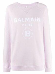 Balmain logo print sweatshirt - Purple