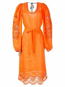 Vita Kin lace-detail midi dress - ORANGE