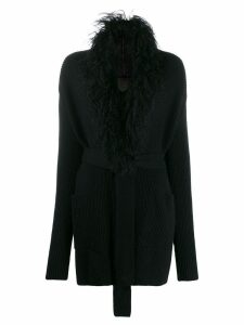 D.Exterior knitted belted cardigan - Black
