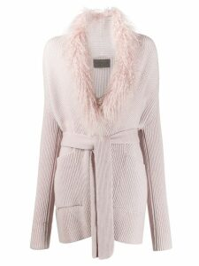 D.Exterior knitted cardigan coat - PINK