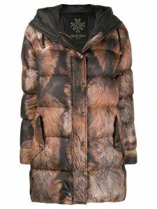 Mr & Mrs Italy printed puffer coat - Black