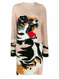 Kenzo Tiger intarsia knit jumper dress - NEUTRALS