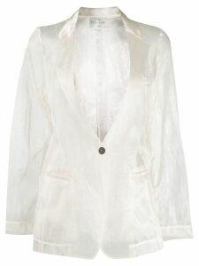 Forte Forte sheer single breasted blazer - NEUTRALS
