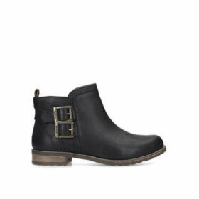 Barbour Sarah Low Buckle Boot - Black Ankle Boots With Buckle Detail