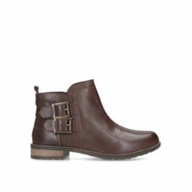 Barbour Sarah Low Buckle Boot - Wine Ankle Boots With Buckle Detail