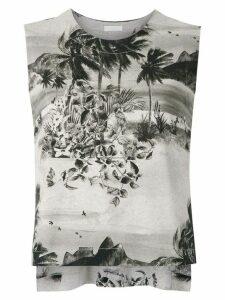Osklen printed knit tank - NEUTRALS