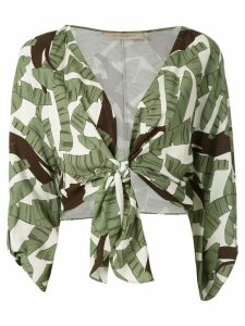 Adriana Degreas printed tie knot blouse - Green