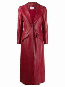 16Arlington panelled leather coat - Red