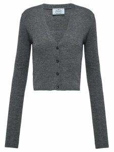 Prada v-neck knitted cardigan - Grey