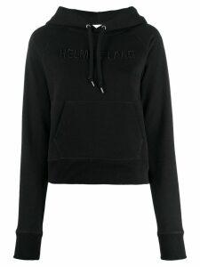 Helmut Lang logo embroidered hoodie - Black