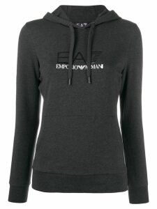 Ea7 Emporio Armani logo printed hoodie - Black
