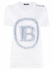Balmain textured logo T-shirt - White