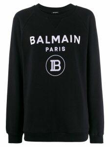Balmain logo print sweatshirt - Black