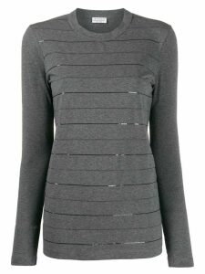 Brunello Cucinelli sequin stripes jumper - Grey