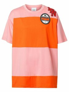Burberry Logo Graphic Panelled Cotton Oversized T-shirt - PINK