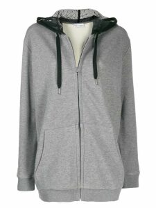 Red Valentino point d'Esprit tulle zipped hoodie - Grey