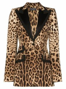 Dolce & Gabbana leopard print tailored blazer - Brown