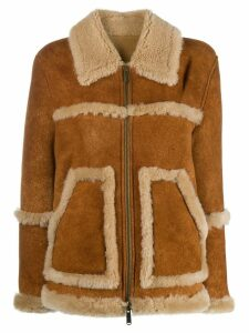 Dsquared2 shearling-trimmed jacket - Brown