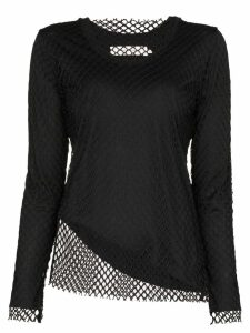 Marques'Almeida net overlay long-sleeve top - Black