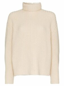 Loewe pearl-embellished cashmere knitted jumper - White