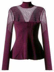 Karl Lagerfeld pointelle-panelled knitted sweater - Red