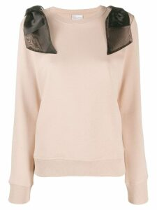 Red Valentino shoulder bow sweatshirt - NEUTRALS