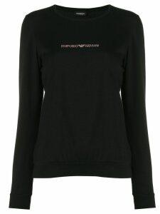 Emporio Armani logo stud T-shirt - Black